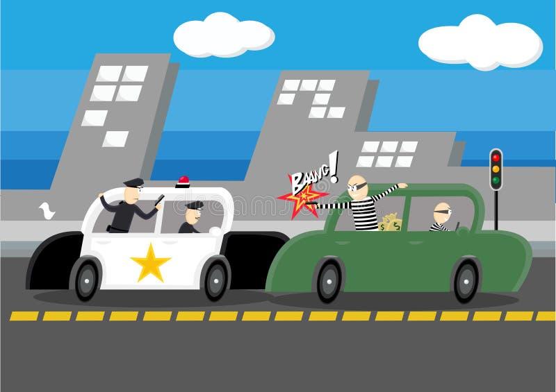 Police contre voleur images libres de droits
