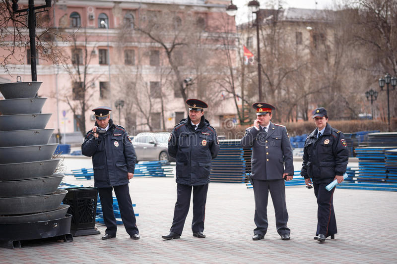 Police control event. Tyumen, Russian Federation, 01/05/2014 stock photography