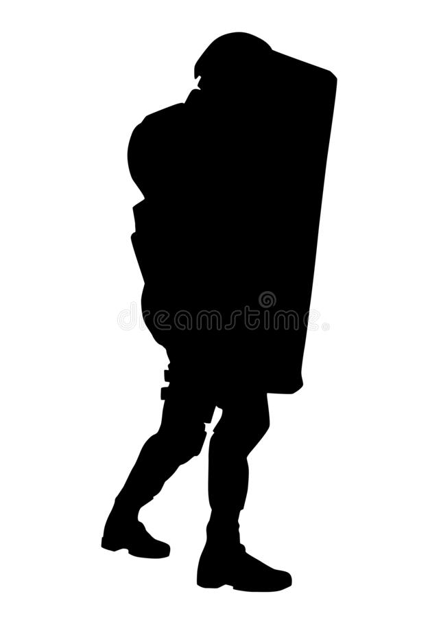 Policeman with anti riot shield vector silhouette. Police counter terrorist tactical unit, SWAT team, riot or crowd control officer in helmet and uniforms stock illustration