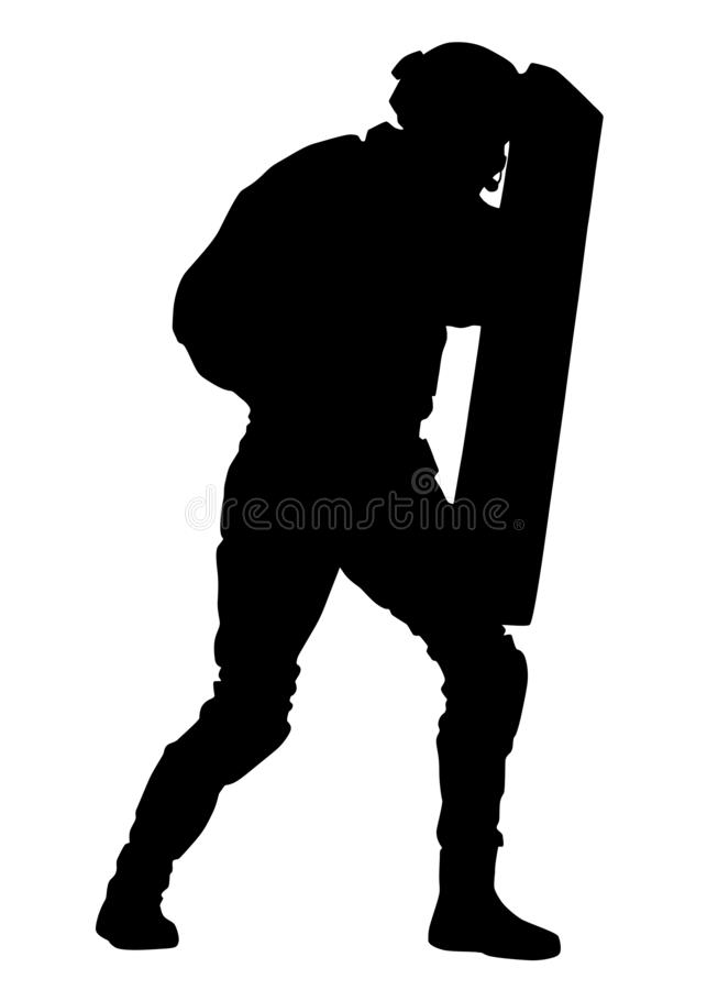 Policeman with anti riot shield vector silhouette stock photo