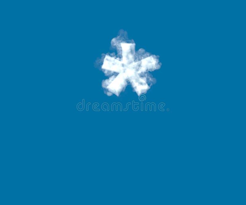 Police créative de nuage, astérisque nuageux blanc d'isolement sur le fond de ciel bleu - illustration 3D des symboles illustration libre de droits
