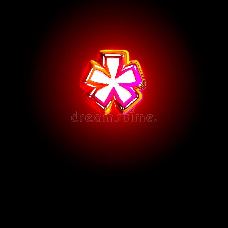 Police créative rouge rougeoyante fascinante - astérisque d'isolement sur le fond noir, illustration 3D des symboles illustration stock