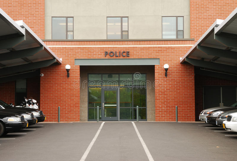Police. Cruisers parked outside of a main  station in Roseburg Oregon stock photo