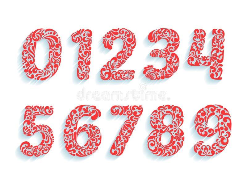 Police décorative de nombres Ornement floral dans toutes les formes de nombres illustration de vecteur