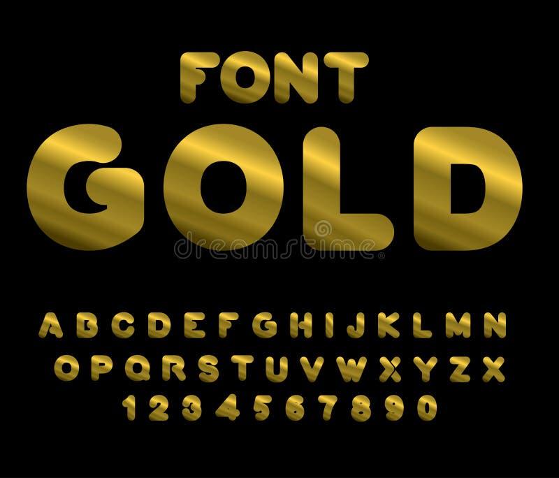 Police d'or ABC d'or Alphabet de métal précieux illustration stock