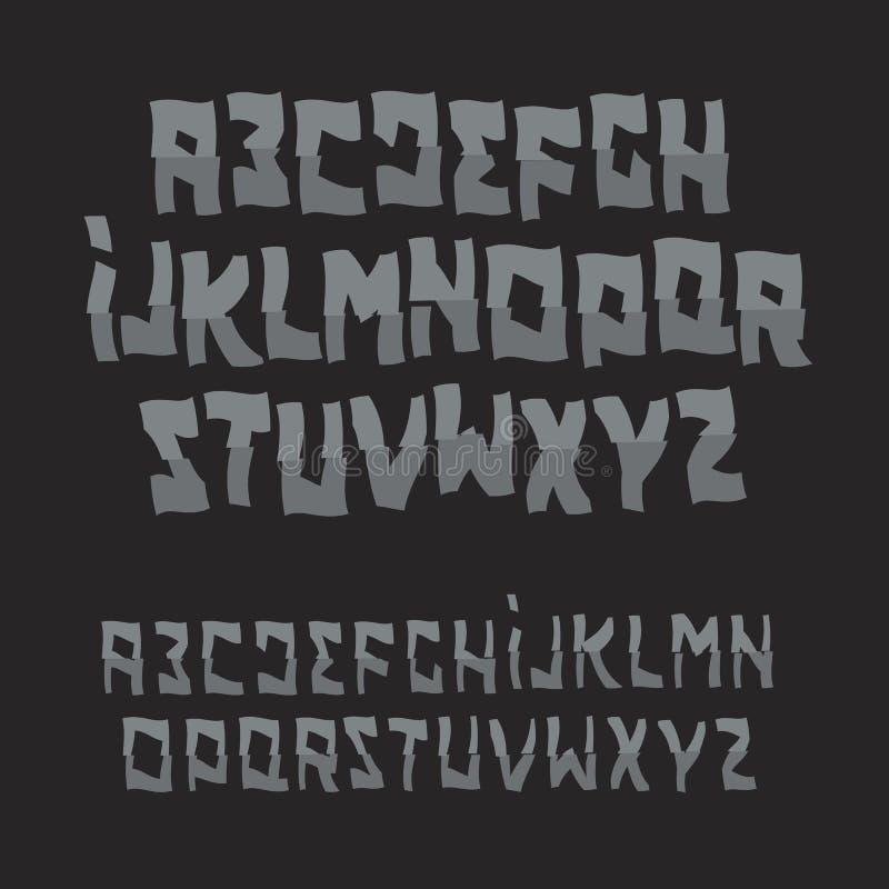Police d'abrégé sur Halloween Alphabet de style de zombi Mal ABC de bande dessinée Ensemble de logo de vecteur illustration libre de droits