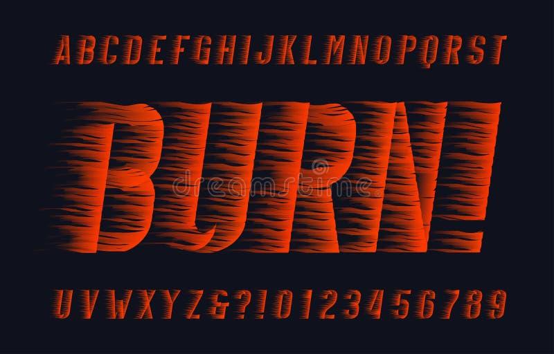 Police d'alphabet de brûlure Type lettres et nombres d'effet de flamme sur le fond foncé illustration de vecteur