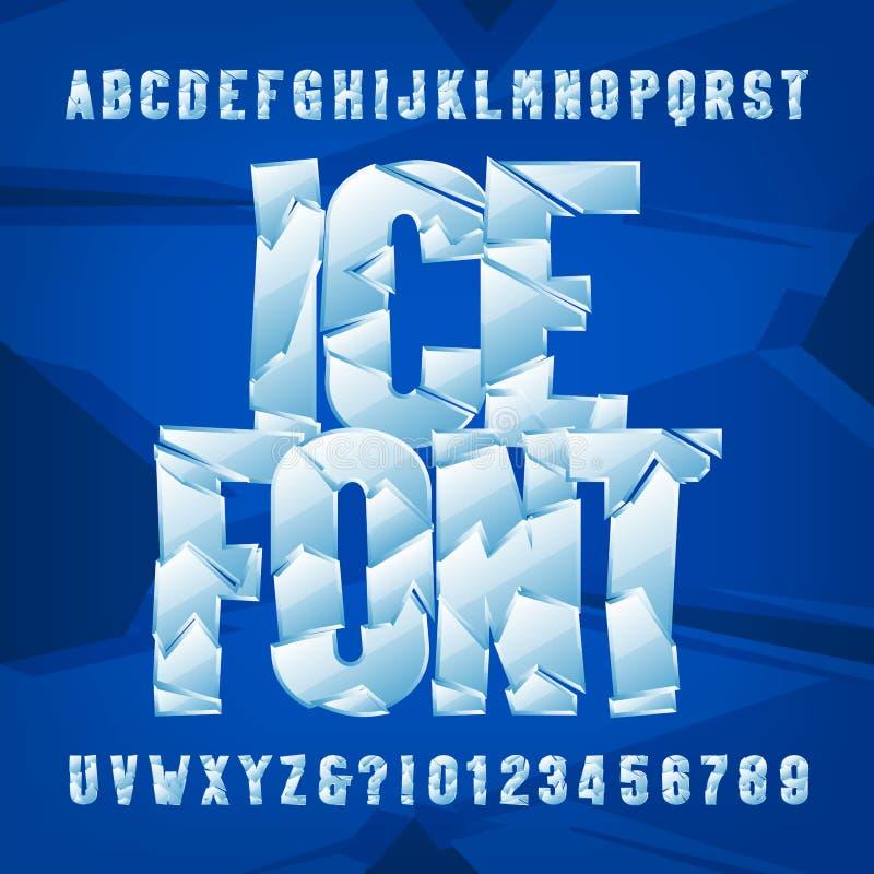 Police d'alphabet de glace Lettres et nombres gelés sur le fond bleu illustration stock
