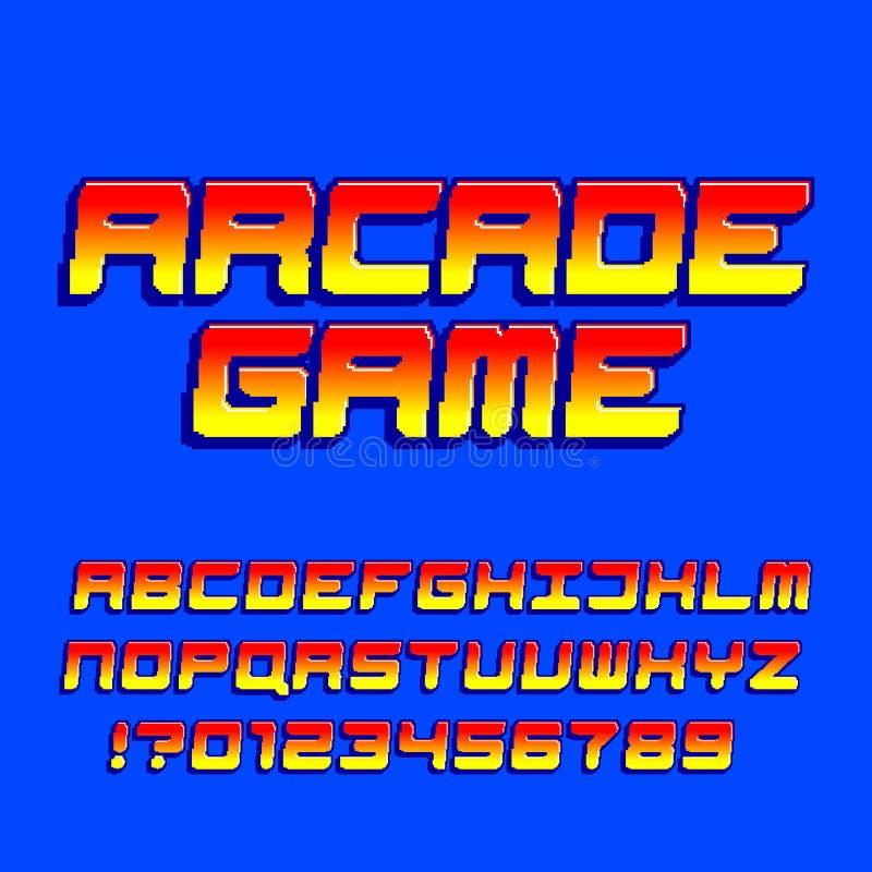 Police d'alphabet de jeu d'ordinateur d'arcade Lettres et nombres obliques de gradient de pixel illustration stock