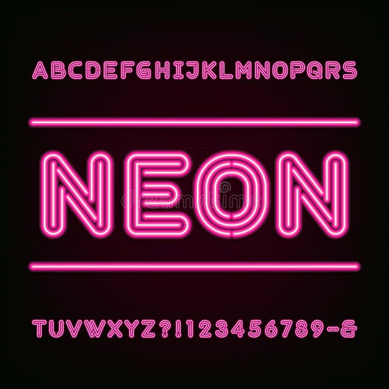Police d'alphabet de lampe au néon illustration libre de droits