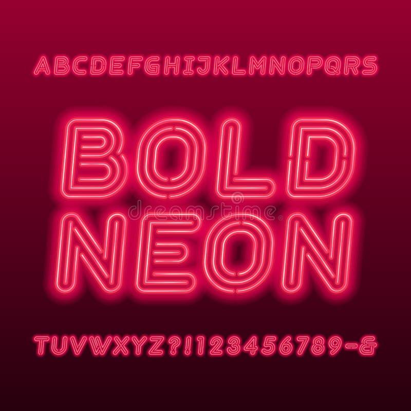 Police d'alphabet de lampe au néon Lettres obliques audacieuses, nombres et symboles de couleur au néon illustration stock