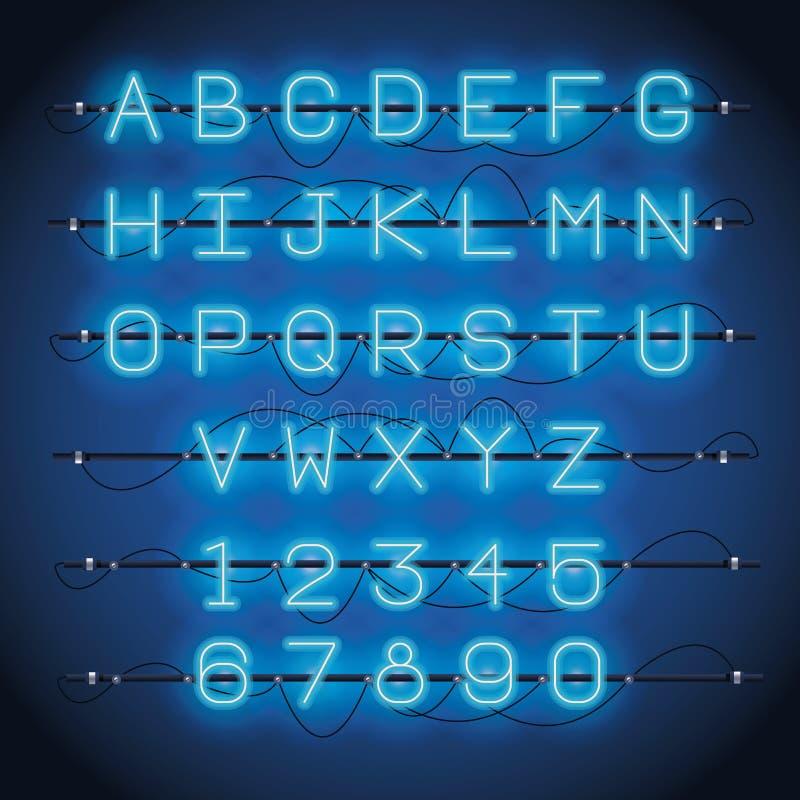 Police d'alphabet de lampes au néon illustration de vecteur