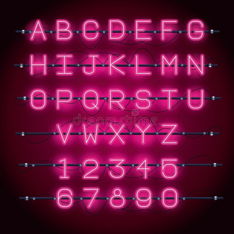 Police d'alphabet de lampes au néon illustration stock