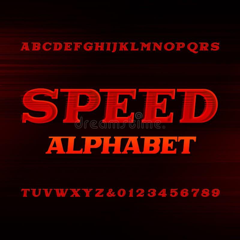 Police d'alphabet de vitesse Lettres et nombres dynamiques obliques illustration libre de droits