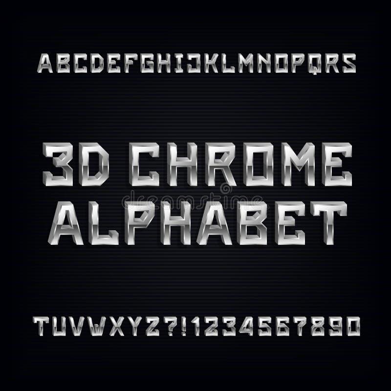 police d'alphabet du chrome 3D Lettres et nombres volumétriques d'effet en métal illustration stock