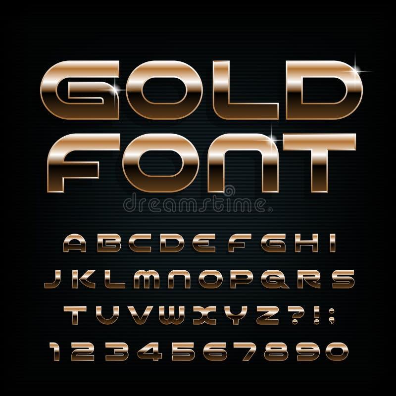 Police d'alphabet d'or Lettres, nombres et symboles d'or modernes illustration de vecteur