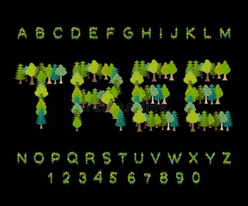 Police d'arbre alphabet de forêt Lettre d'arbre Alphabet de nature illustration libre de droits