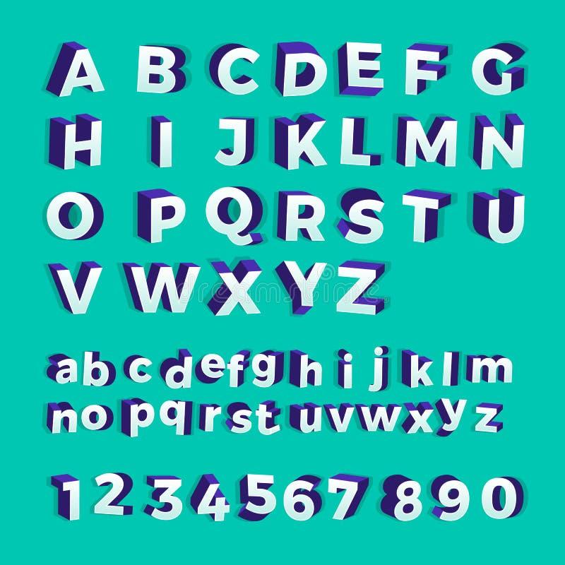 Police 3D audacieuse réglée de vecteur d'alphabet La conception plate montrent illustration libre de droits