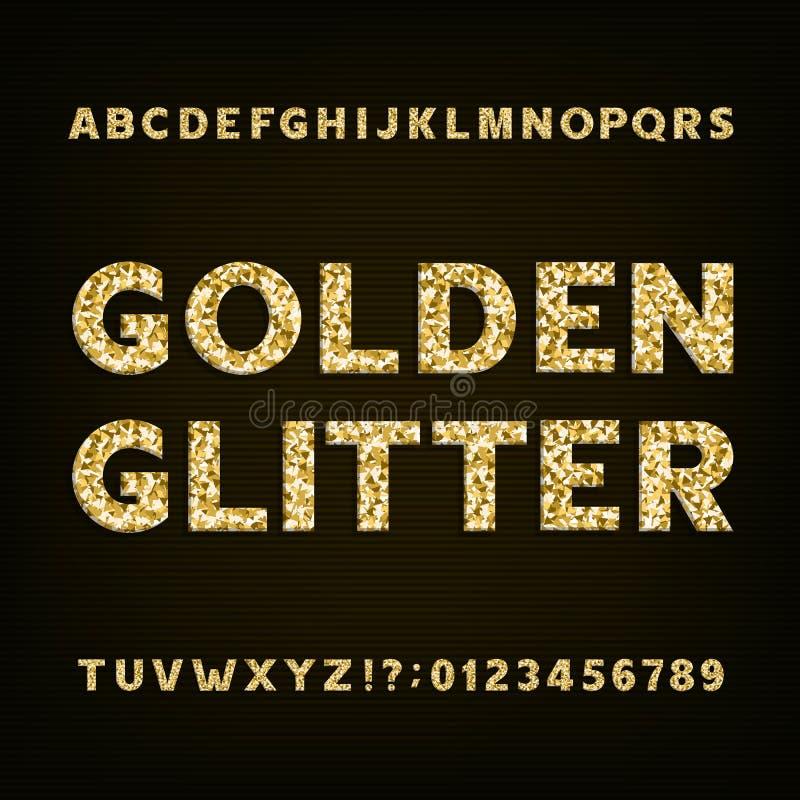 Police d'or d'alphabet de scintillement Nombres et symboles audacieux de lettres illustration libre de droits