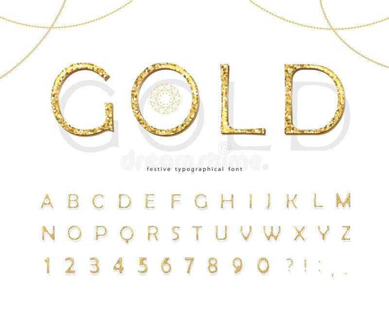 Police 3d Gold glitter Lettres et numéros ABC de couleur or luxueux Élégant alphabet glamour pour la conception de vacances Vecte illustration de vecteur