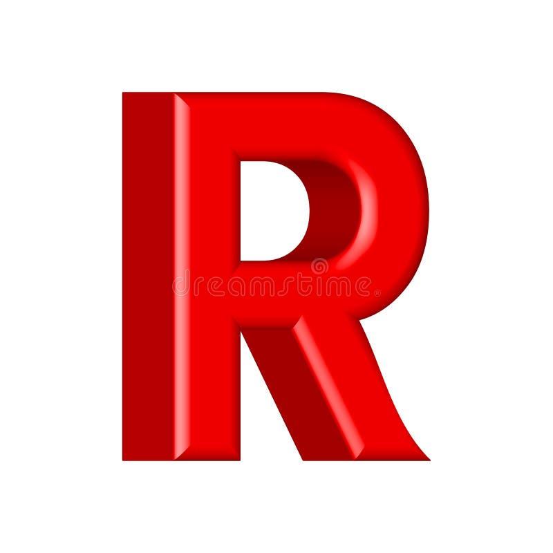 police 3d rouge brillante faite de plastique - lettre de R illustration stock