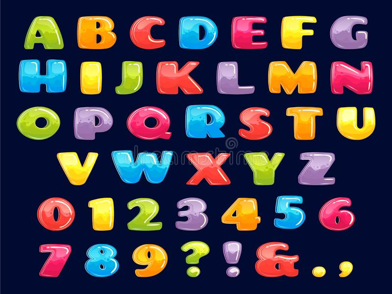 Police de bande dessinée de couleur Lettres colorées potelées, alphabet de jeux d'enfants d'amusement et ensemble drôle d'illustr illustration de vecteur