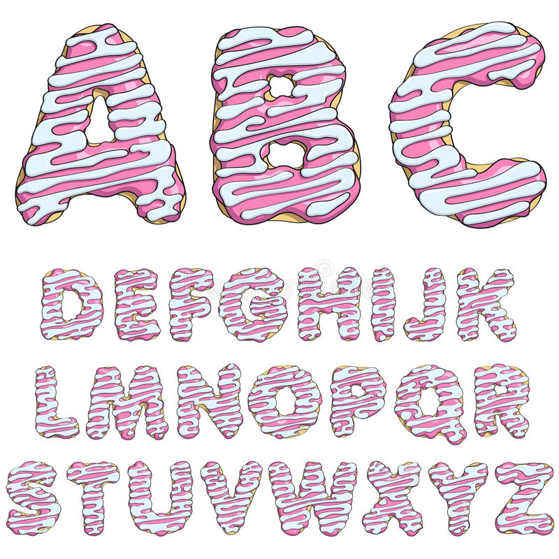 Police de beignet, alphabets savoureux objets illustration stock
