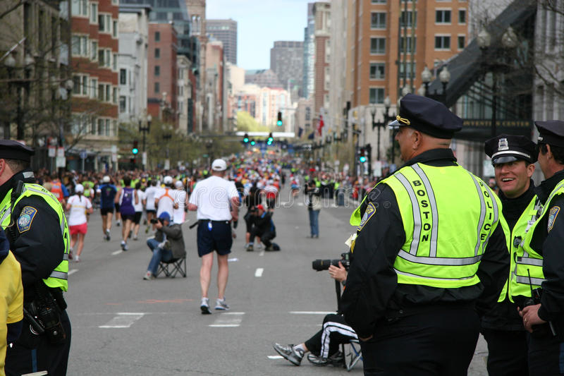 Police de Boston au marathon de Boston photo libre de droits