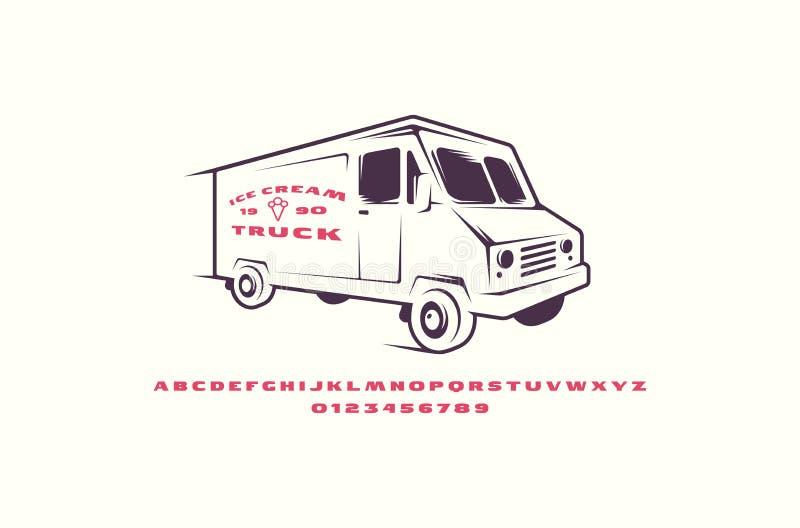 Police de caractère sans obit et sans empattement et camion prolongés de crème glacée  illustration de vecteur