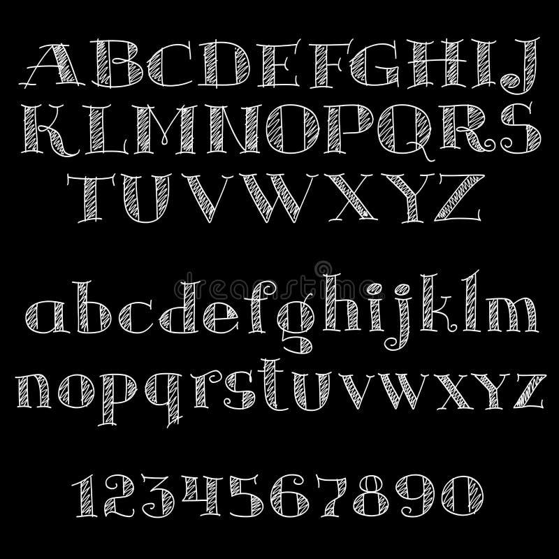 Police de craie ou type alphabet sur le tableau noir illustration de vecteur