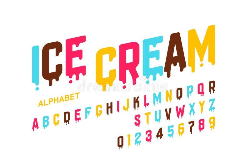 Police de fonte de crème glacée  illustration libre de droits