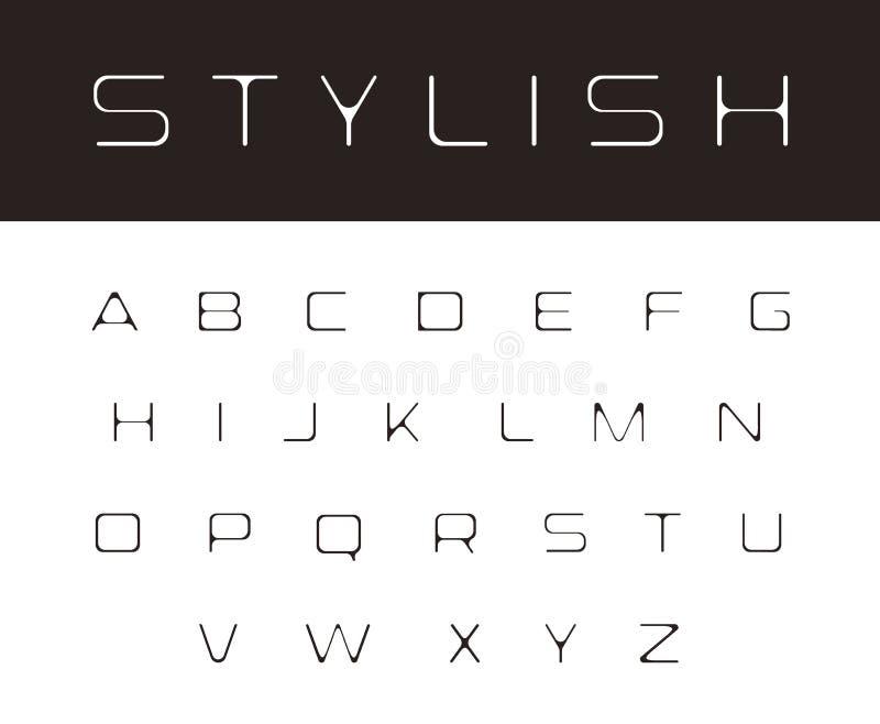 Police de fonte mince, éléments élégants modernes de conception de monogramme, alphabet simple, lettres arrondies élégantes, logo illustration stock
