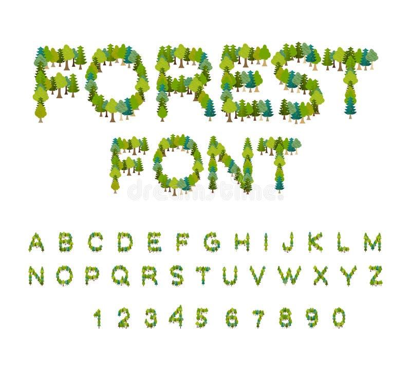 Police de forêt Alphabet d'arbre Lettre d'arbre Alphabet de nature E illustration de vecteur