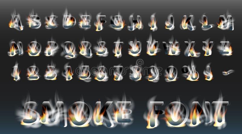 Police de fumée avec le feu Lettres et nombres fumeux Alphabet Police de vecteur brûlante de fumée illustration stock