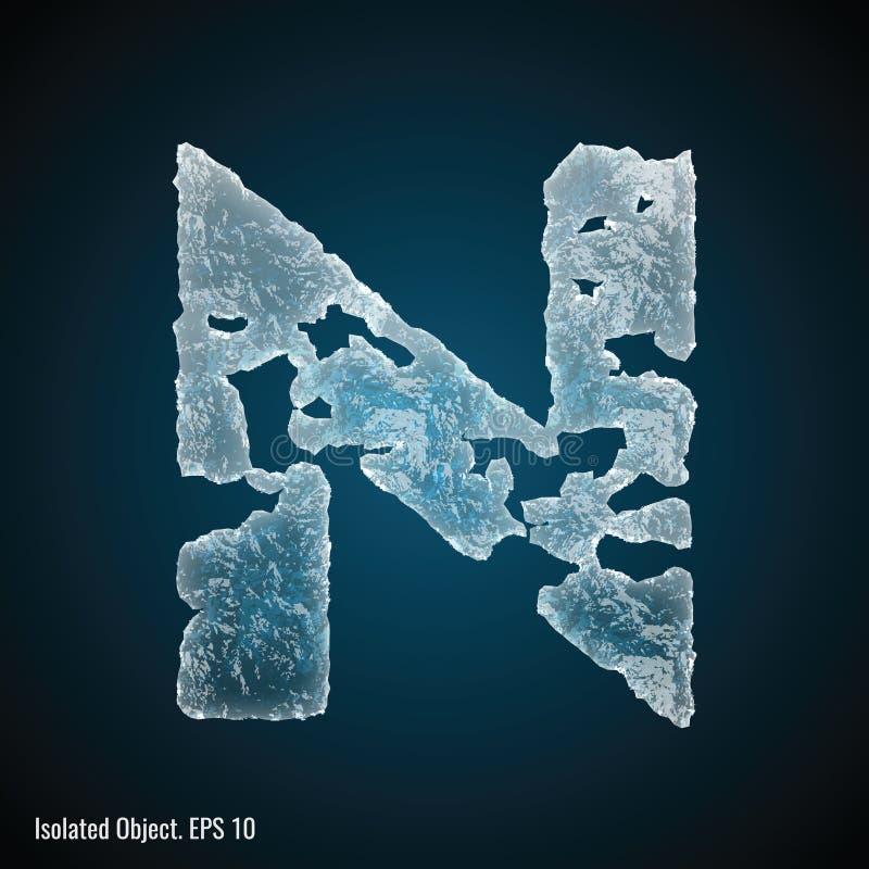 Police de glace de la lettre N illustration libre de droits