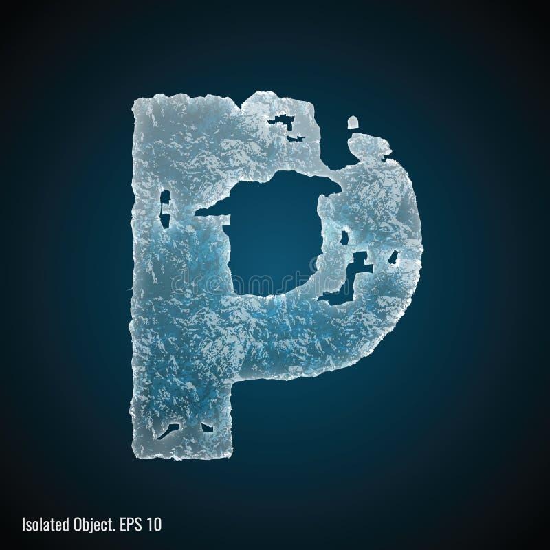 Police de glace de la lettre P illustration de vecteur