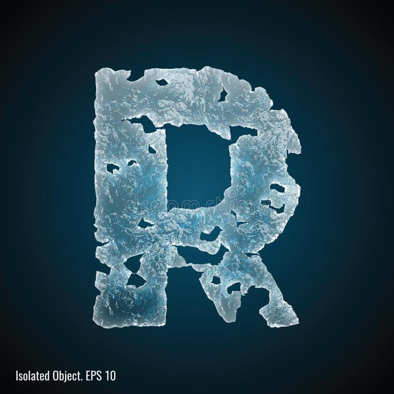 Police de glace de la lettre R illustration stock