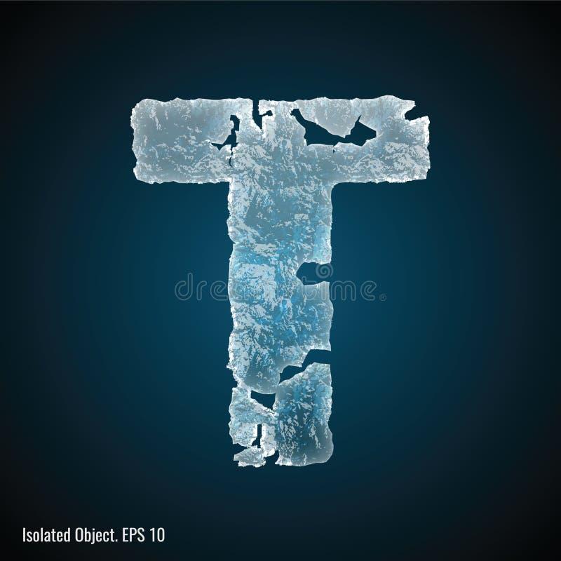 Police de glace de la lettre T illustration libre de droits