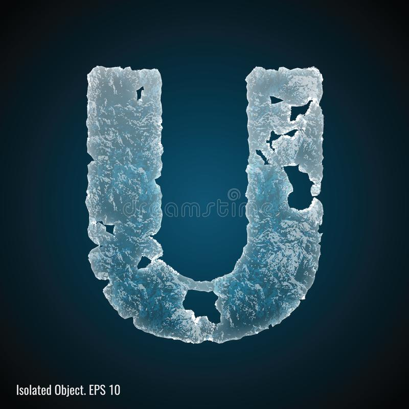 Police de glace de la lettre U illustration de vecteur