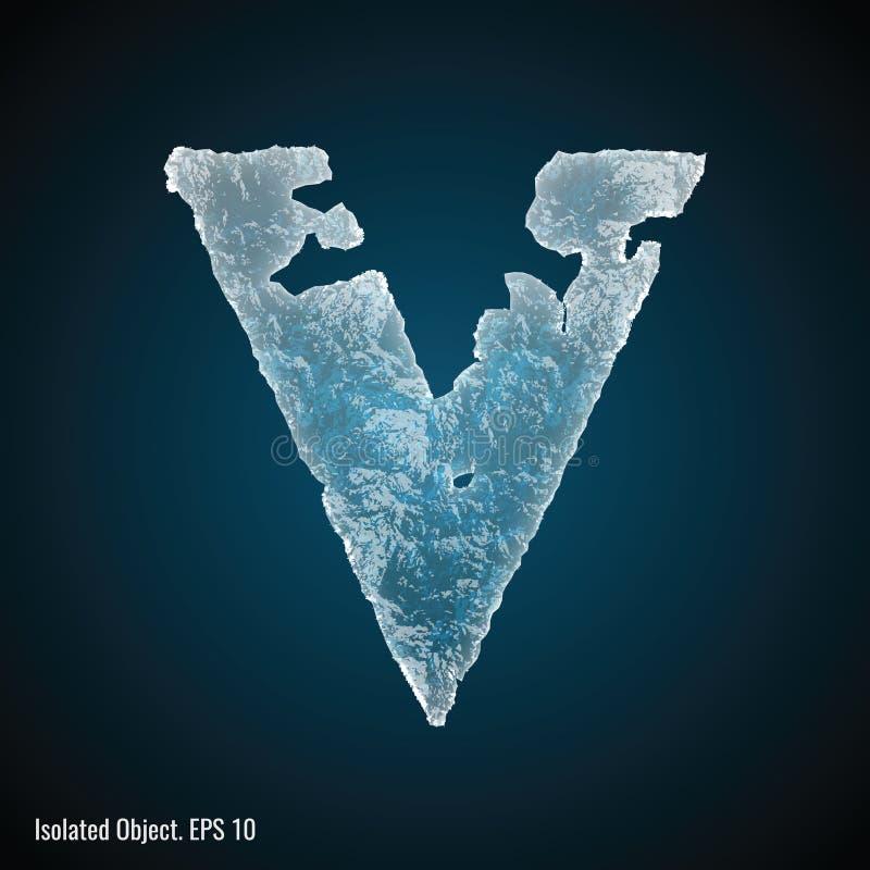 Police de glace de la lettre V illustration libre de droits