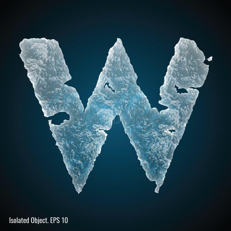 Police de glace de la lettre W illustration libre de droits