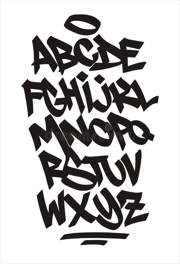 Police de graffiti de vecteur Signature manuscrite illustration stock