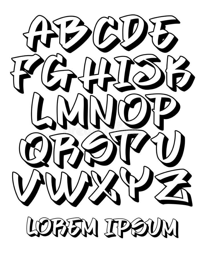 Police de graffiti - main écrite - dirigez l'alphabet illustration de vecteur