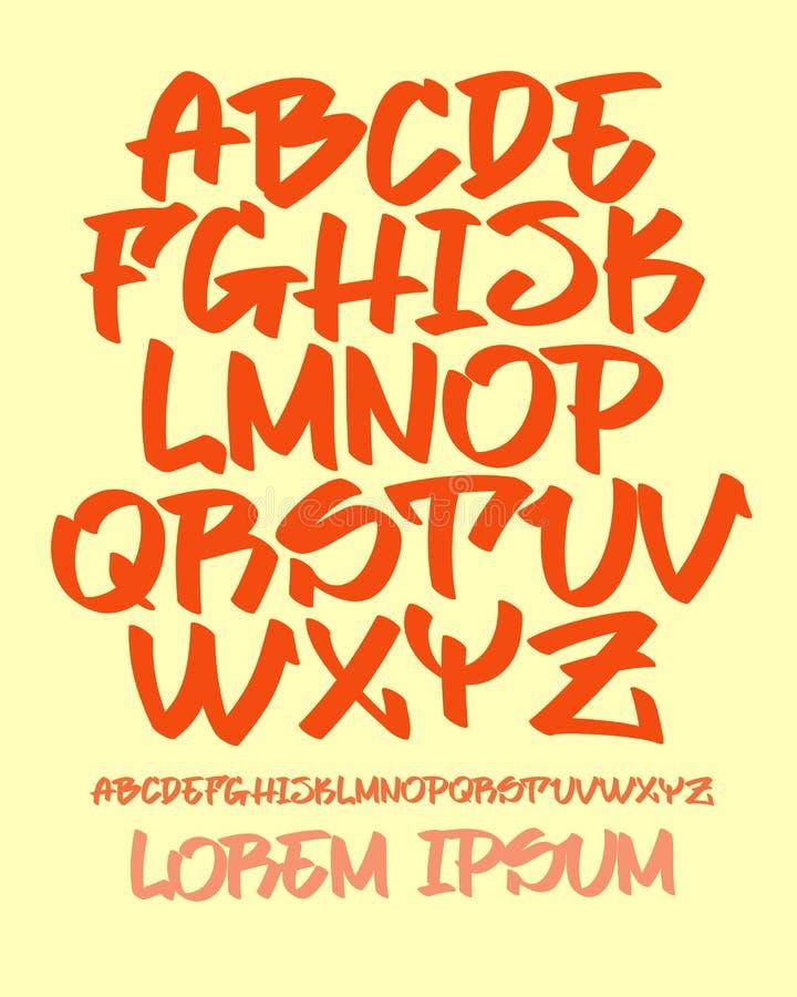 Police de graffiti - main écrite - dirigez l'alphabet illustration libre de droits