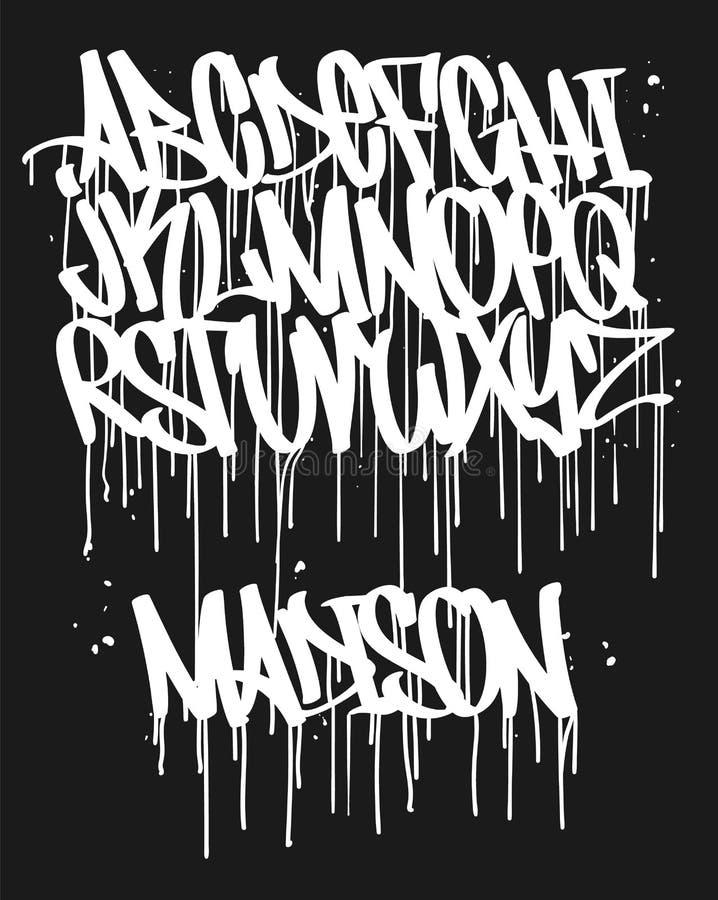 Police de graffiti de marqueur, illustration manuscrite de vecteur de typographie photographie stock libre de droits