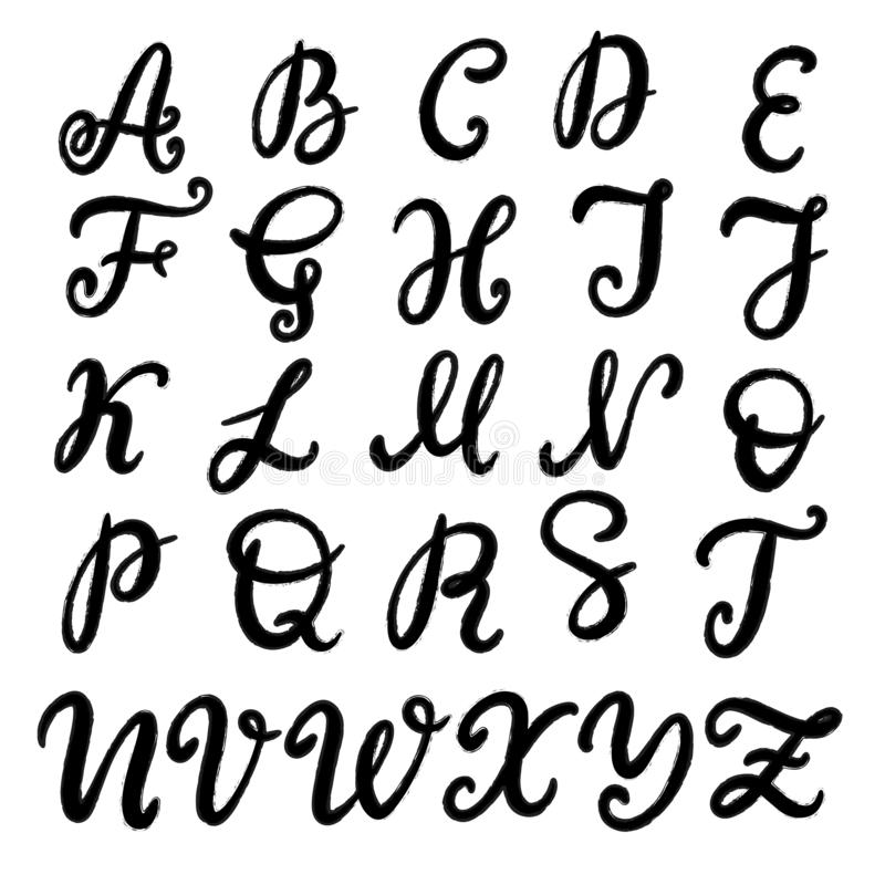Police de inscription tir?e par la main, alphabet illustration stock