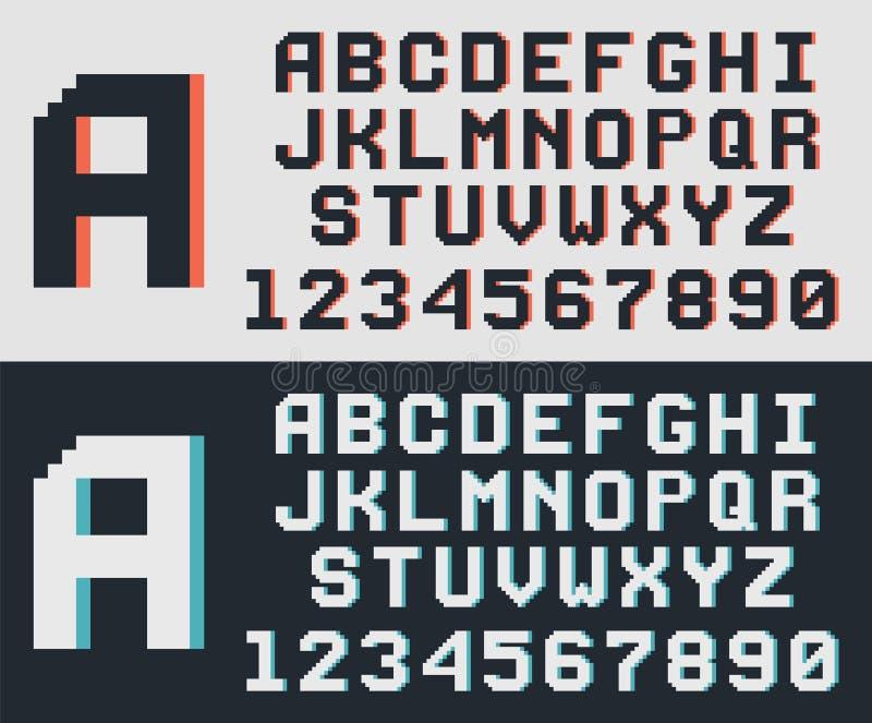 Police de jeu de pixel rétro illustration de vecteur
