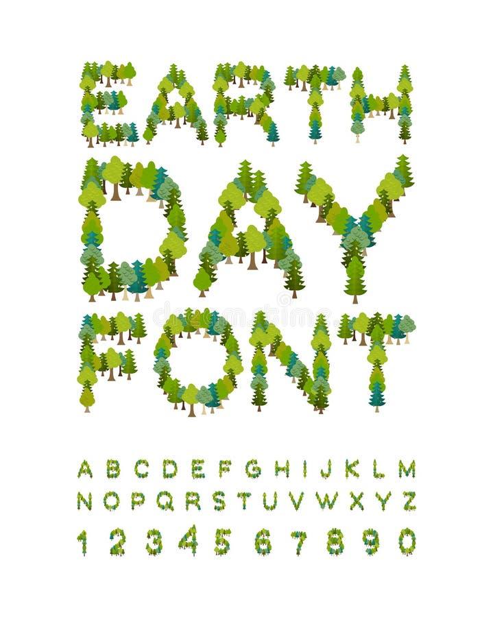 Police de jour de terre alphabet de forêt Lettres d'arbre Internationa illustration libre de droits