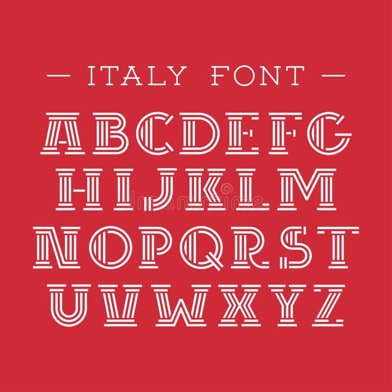 Police de l'Italie Alphabet de vecteur avec les lettres latines illustration de vecteur