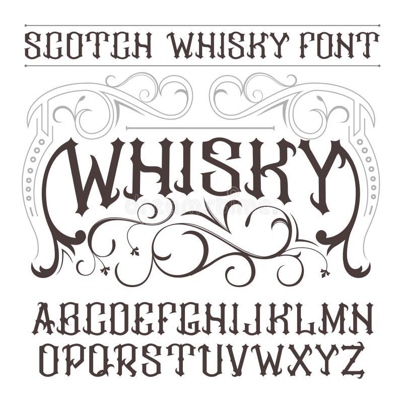Police de label de vintage de vecteur Style de whiskey illustration stock